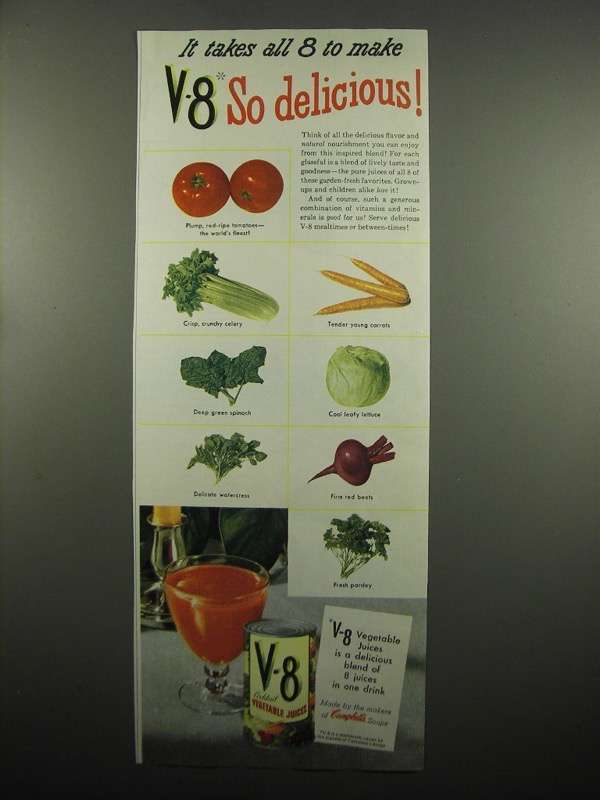 Primary image for 1954 V-8 Vegetable Juice Ad - It Takes All 8 to Make