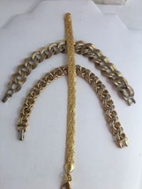 Vintage Monet Gold Plated Bracelets 3 Chain Link Woven - $24.18