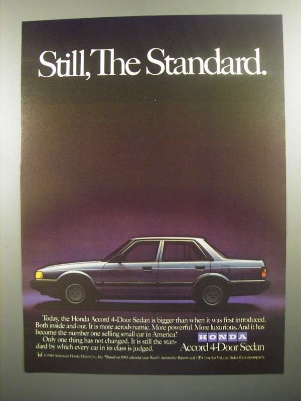Primary image for 1984 Honda Accord 4-Door Sedan Ad - Still The Standard