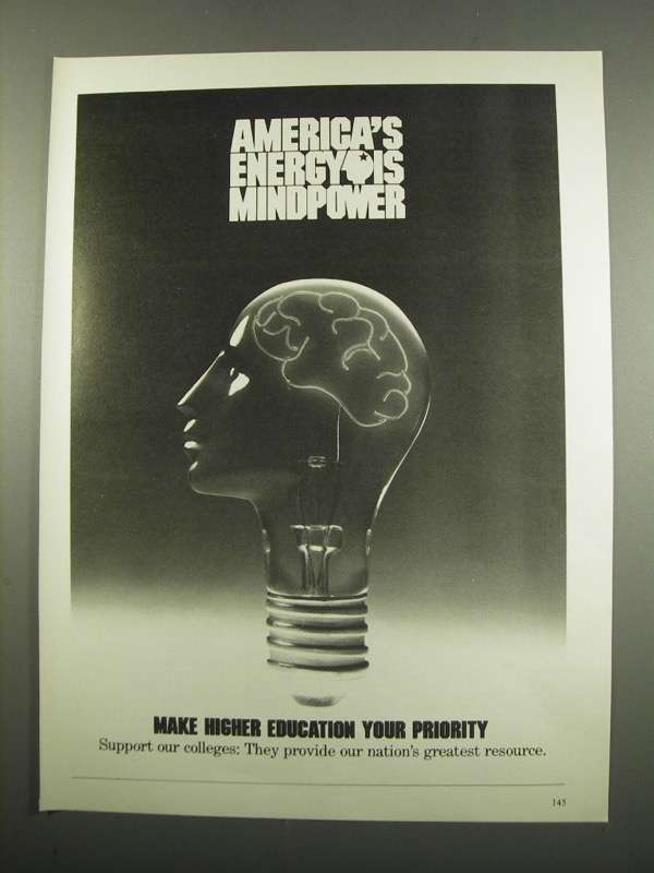 Primary image for 1984 Higher Education Ad - Energy is Mindpower