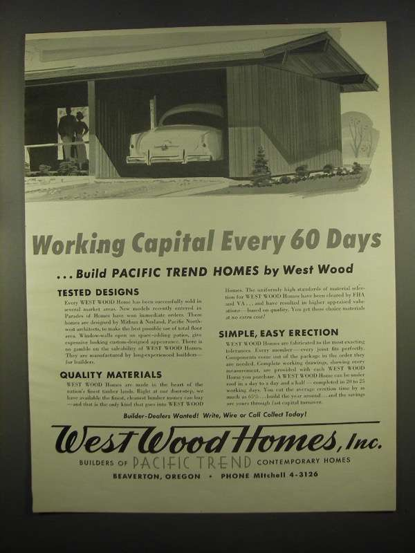 Primary image for 1954 West Wood Homes, Inc. Ad - Working Capital