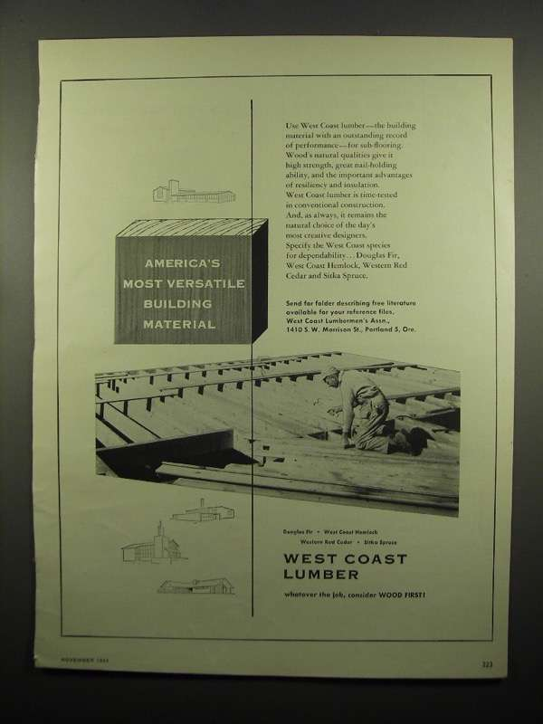 Primary image for 1954 West Coast Lumber Ad - America's Most Versatile