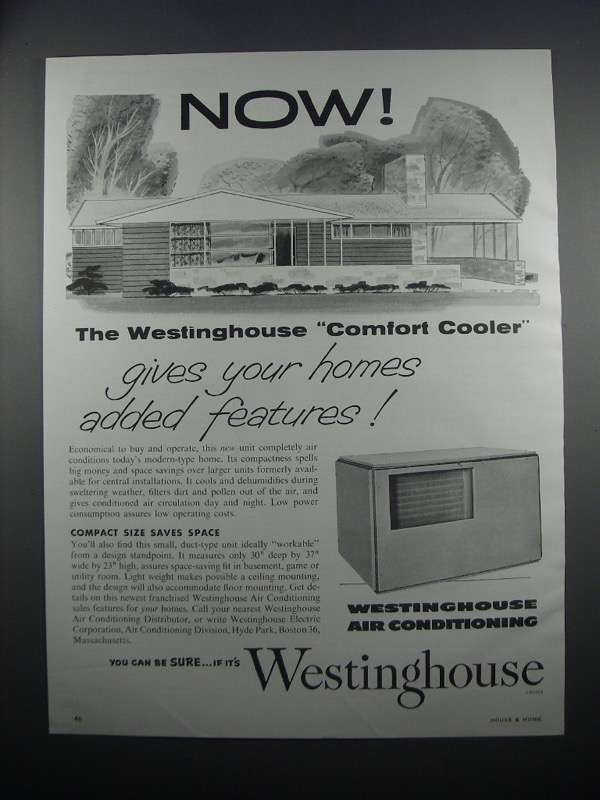 Primary image for 1954 Westinghouse Air Conditioning Ad - Comfort Cooler