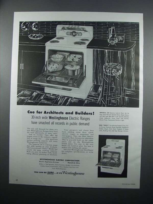 Primary image for 1954 Westinghouse Imperial 30 & Thirty Model Ranges Ad
