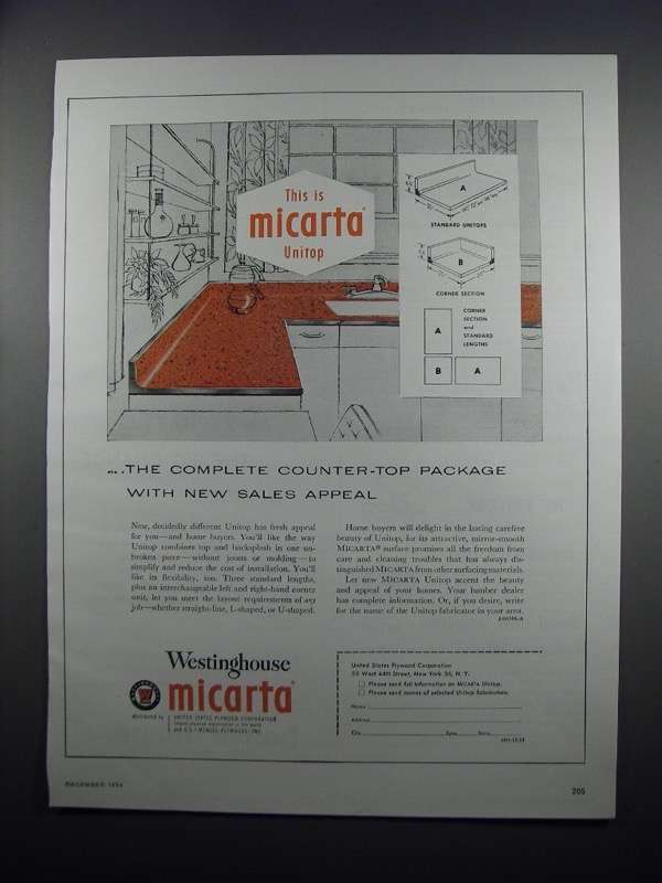 Primary image for 1954 Westinghouse Micarta Unitop Ad - Sales Appeal
