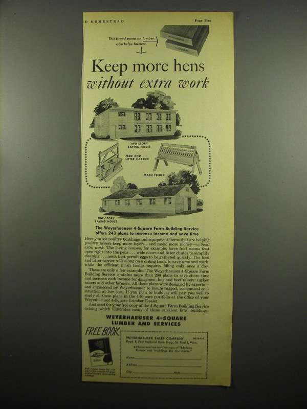 Primary image for 1954 Weyerhaeuser 4-Square Lumber and Services Ad - Keep more Hens