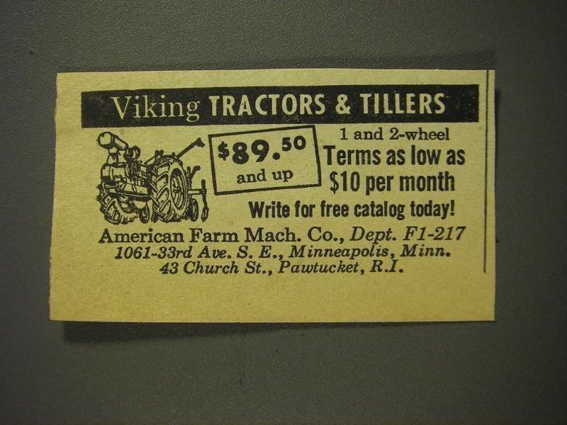 Primary image for 1955 American Farm Machine Viking Tractors & Tillers Ad