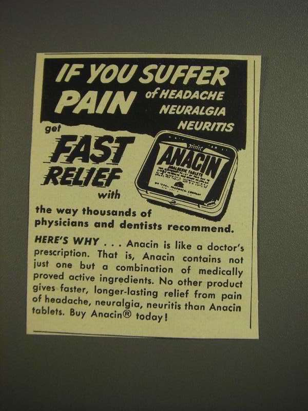 Primary image for 1955 Anacin Medicine Ad - If You Suffer Pain