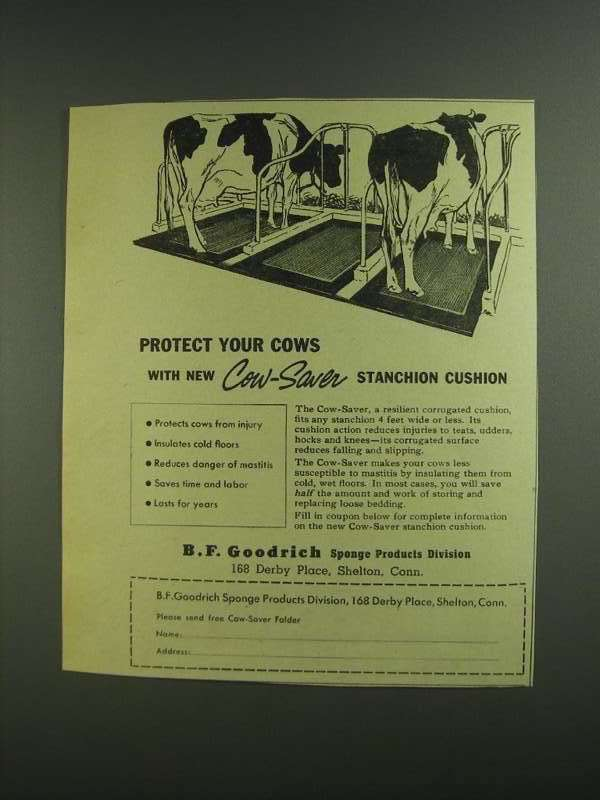 Primary image for 1955 B.F. Goodrich Cow-Saver Stanchion Cushion Ad
