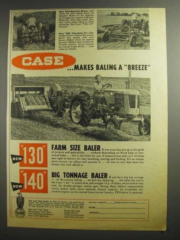 Primary image for 1955 Case Ad - Side-Mounted Mower, 200 Side Rake