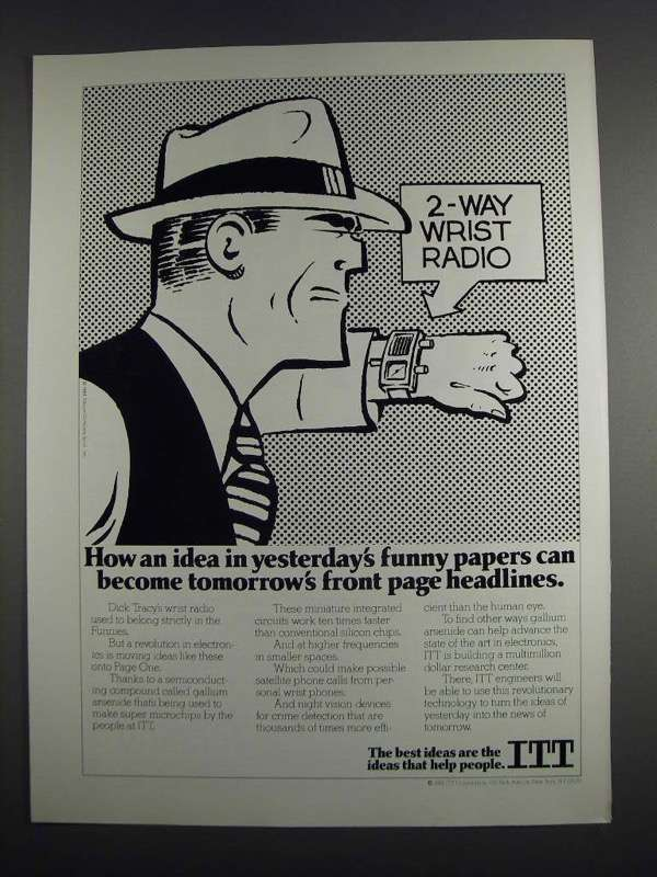 Primary image for 1984 ITT Technology Ad - Dick Tracy - 2-Way Wrist Radio
