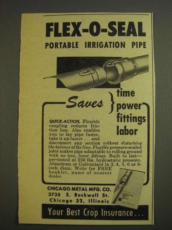 Primary image for 1955 Chicago Metal Mfg. Flex-o-seal Irrigation Pipe Ad