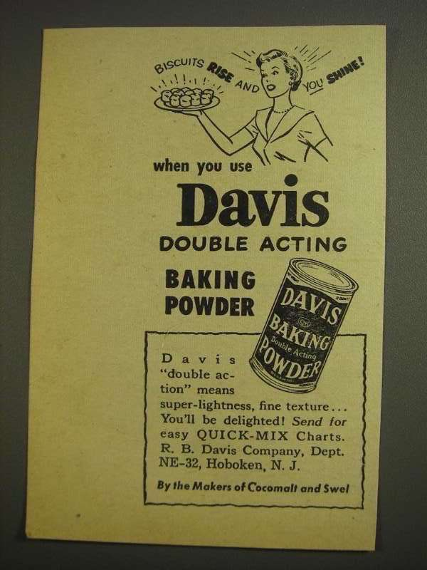 Primary image for 1955 Davis Baking Powder Ad - Biscuits Rise