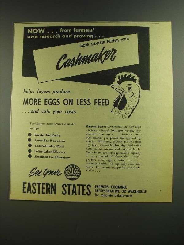 Primary image for 1955 Eastern States Cashmaker Feed Ad