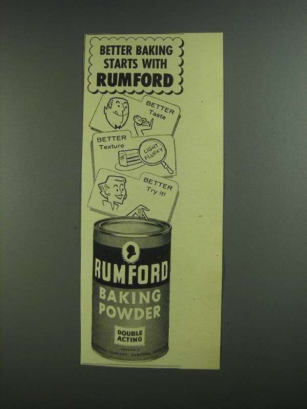 Primary image for 1955 Rumford Baking Powder Ad - Better Baking