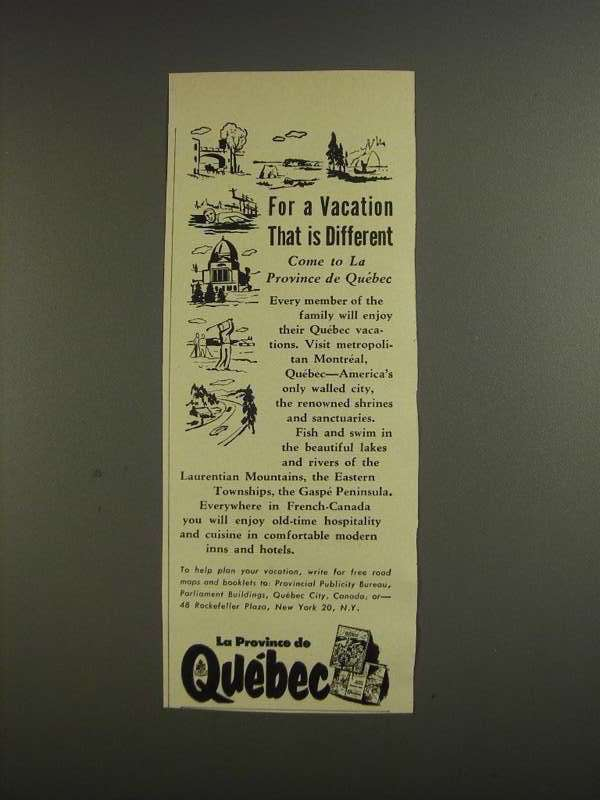 Primary image for 1955 Quebec Tourism Ad - Vacation That is Different