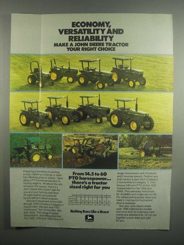 Primary image for 1984 John Deere Tractors Ad - 950 1050 1250 1450 1650