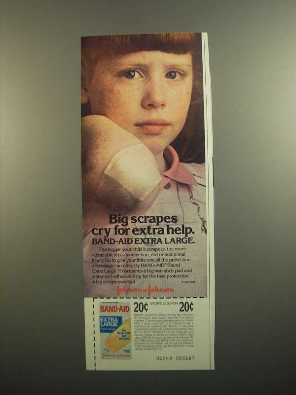 Primary image for 1984 Johnson & Johnson Band-Aid Extra Large Ad