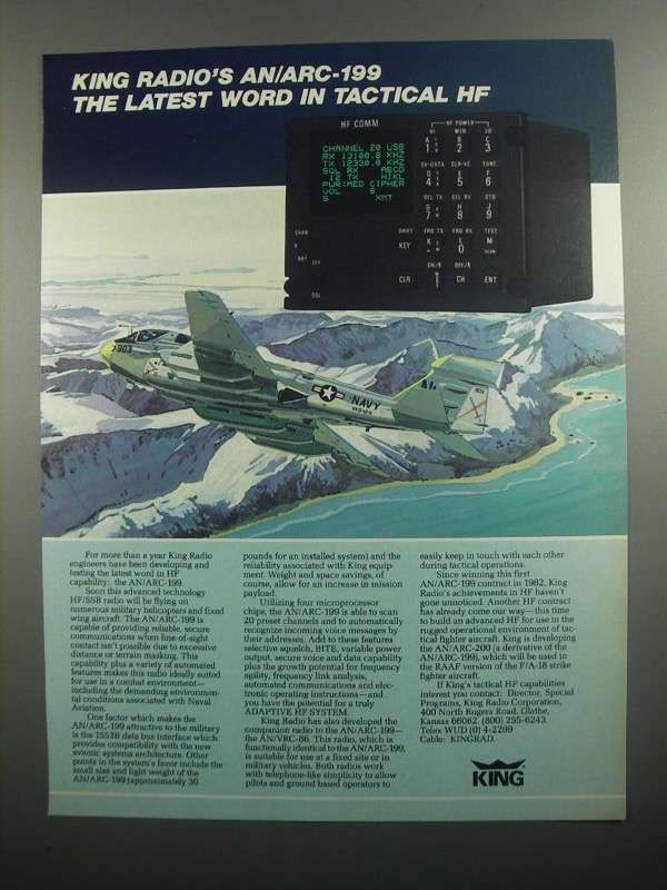 Primary image for 1984 King Radio AN/ARC-199 Ad - Tactical HF