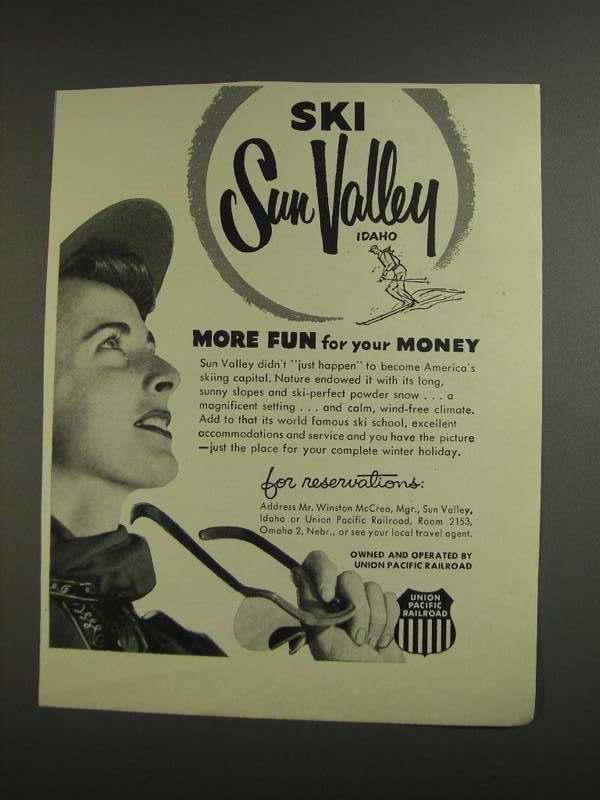 Primary image for 1955 Union Pacific Railroad Ad - Ski Sun Valley