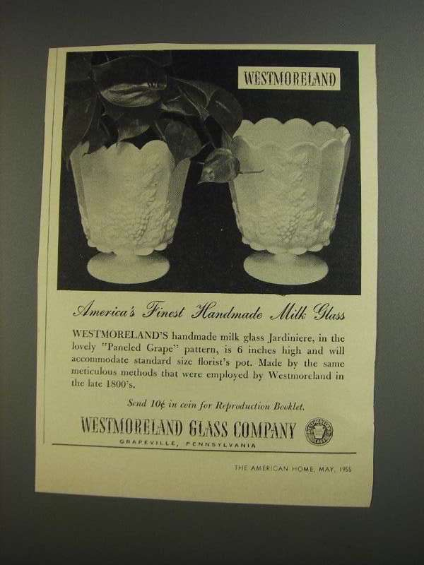 Primary image for 1955 Westmoreland Glass Paneled Grape Jardiniere Ad