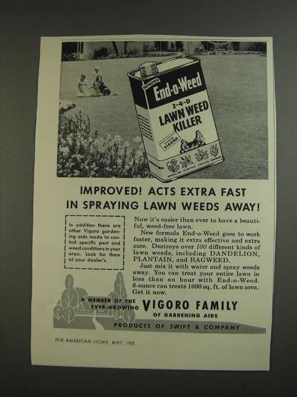 Primary image for 1955 Vigoro End-O-Weed Ad - Acts Extra Fast