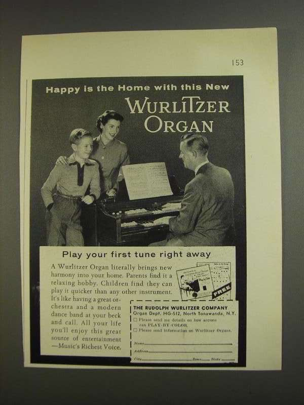Primary image for 1955 Wurlitzer Organ Ad - Happy is the Home