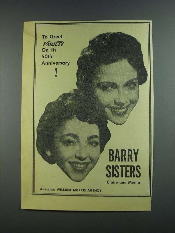 Primary image for 1956 Barry Sisters Ad - Variety 50th Anniversary
