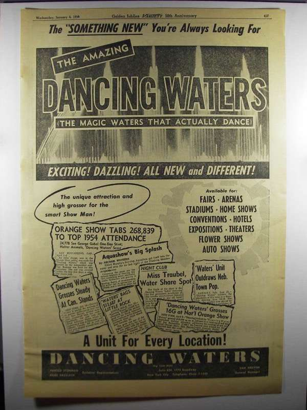 Primary image for 1956 Dancing Waters Ad - The Something New