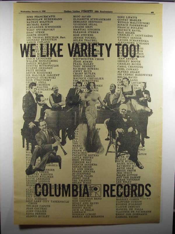 Primary image for 1956 Columbia Records Ad - We Like Variety Too