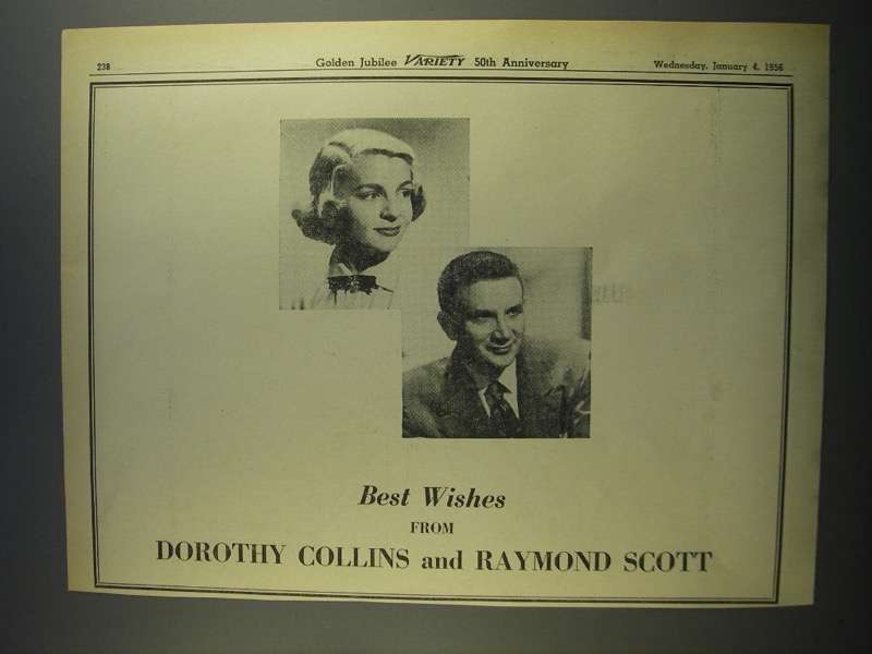 Primary image for 1956 Dorothy Collins & Raymond Scott Ad - Variety 50th