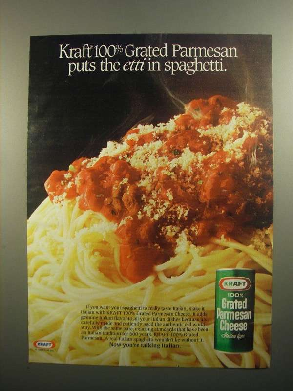 Primary image for 1984 Kraft 100% Grated Parmesan Cheese Ad