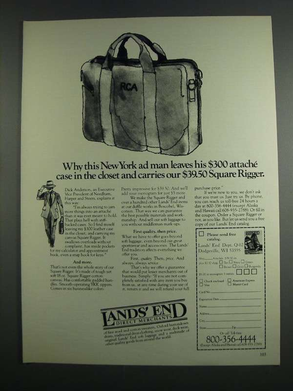 Primary image for 1984 Lands' End Square Rigger Ad - New York Ad Man