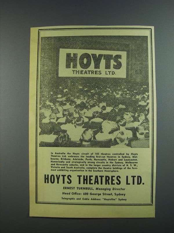 Primary image for 1956 Hoyts Theatres Ltd. Ad