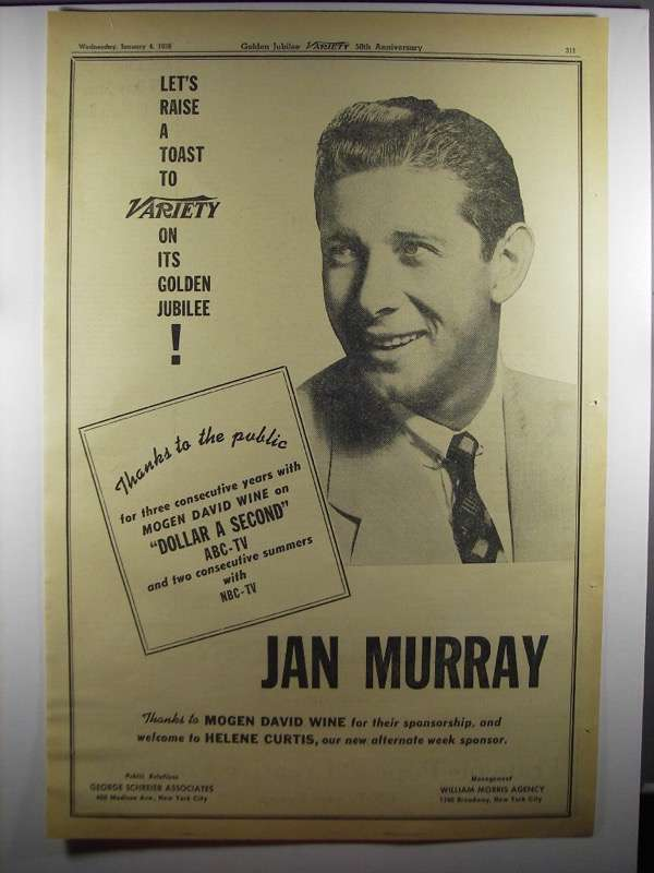 Primary image for 1956 Jan Murray Ad - Variety 50th Anniversary