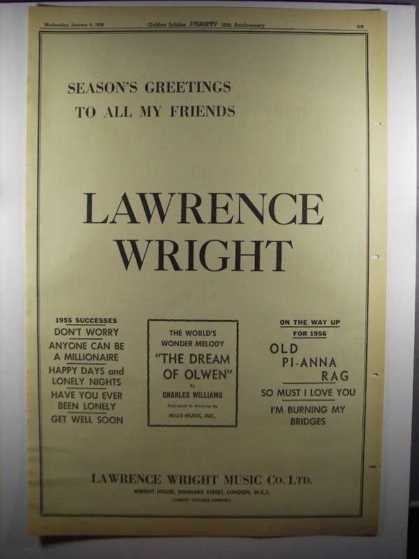 Primary image for 1956 Lawrence Wright Music Co. Ad - Season's Greetings