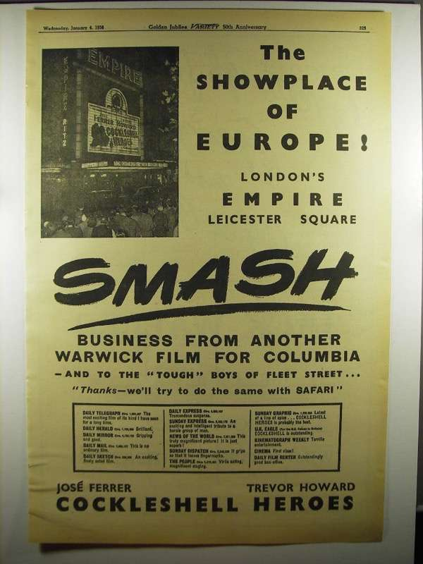 Primary image for 1956 London's Empire Theatre Ad - Showplace of Europe
