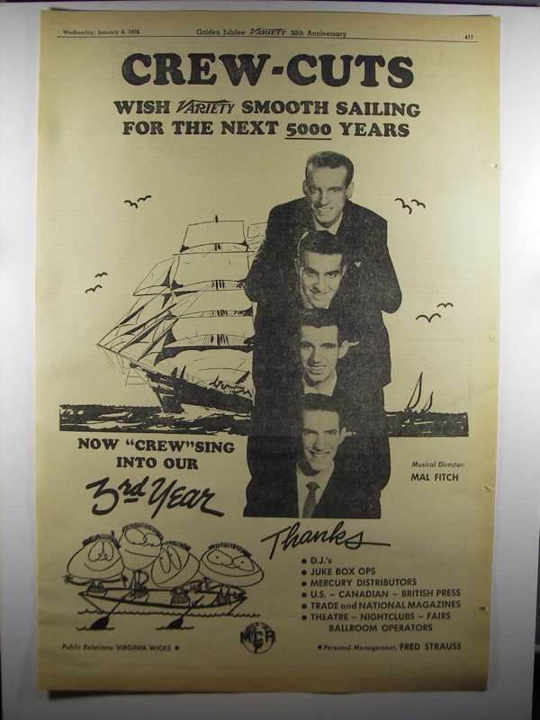 Primary image for 1956 MCA Records Crew-Cuts Ad - Variety Smooth Sailing