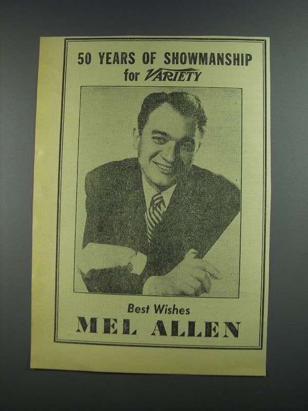 Primary image for 1956 Mel Allen Ad - Variety 50th Anniversary