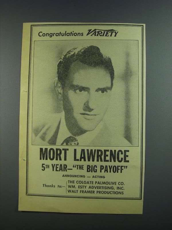 Primary image for 1956 Mort Lawrence the Big Payoff Ad - Variety