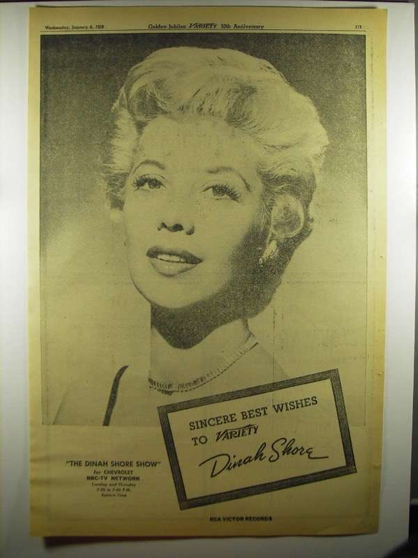 Primary image for 1956 NBC-TV The Dinah Shore Show Ad - Best To Variety