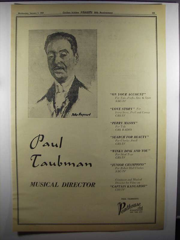 Primary image for 1956 Paul Taubman Musical Director Ad - Peter Hayward