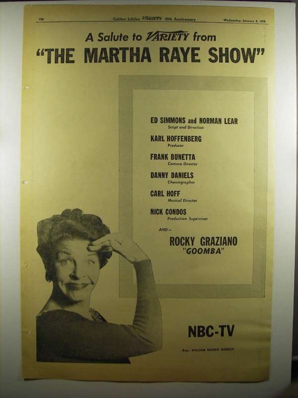 Primary image for 1956 NBC-TV The Martha Raye Show Ad - Salute Variety