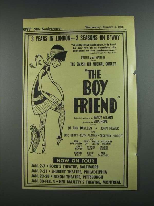 Primary image for 1956 The Boy Friend Comedy Play Ad - 3 Years in London