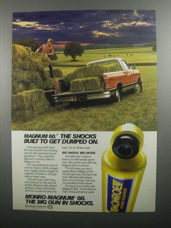 Primary image for 1984 Monro-Magnum 60 Shocks Ad - Built to Get Dumped On
