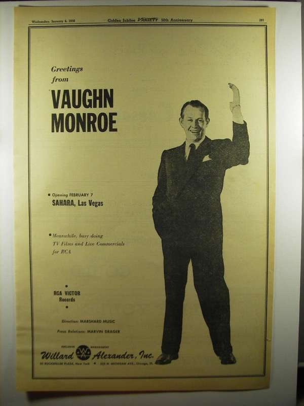 Primary image for 1956 Vaughn Monroe Ad - Greetings From