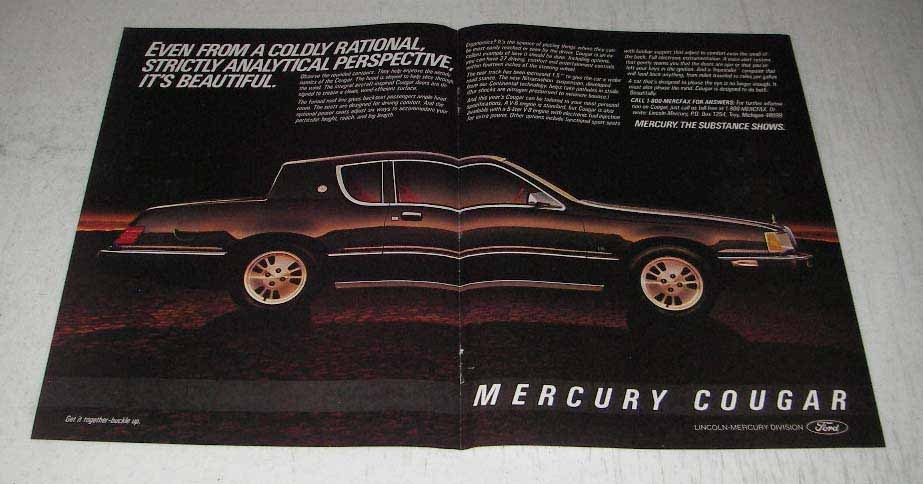 Primary image for 1983 2-page Mercury Cougar Ad - Coldly Rational