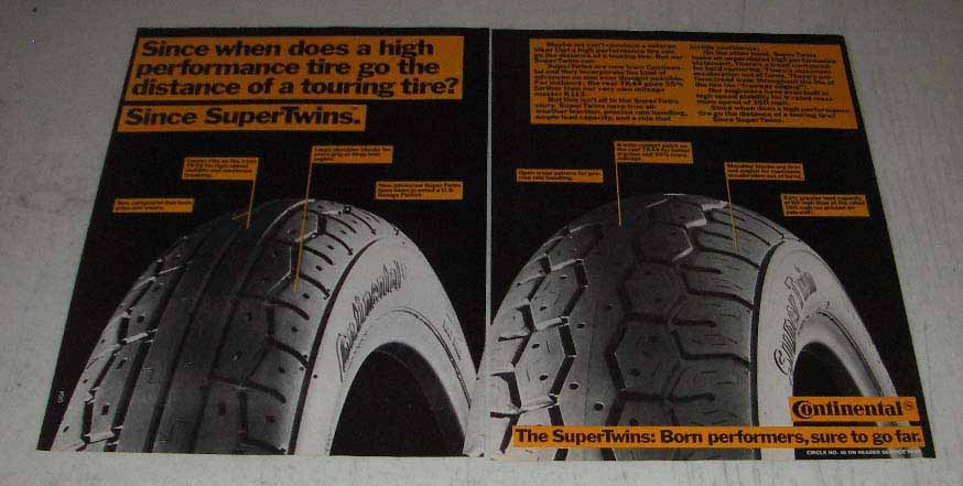 Primary image for 1983 2-pg Continental SuperTwins Motorcycle Tires Ad