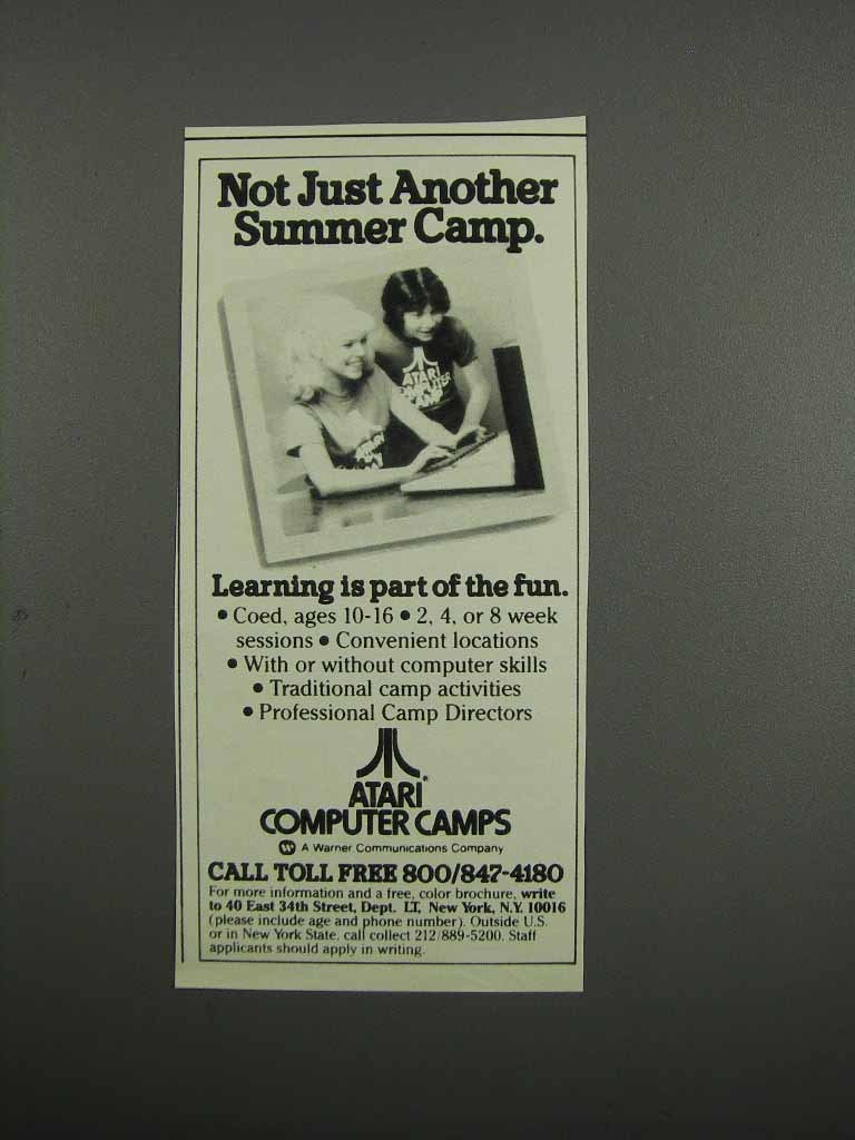 Primary image for 1983 Atari Computer Camps Ad - Not Just Another Camp