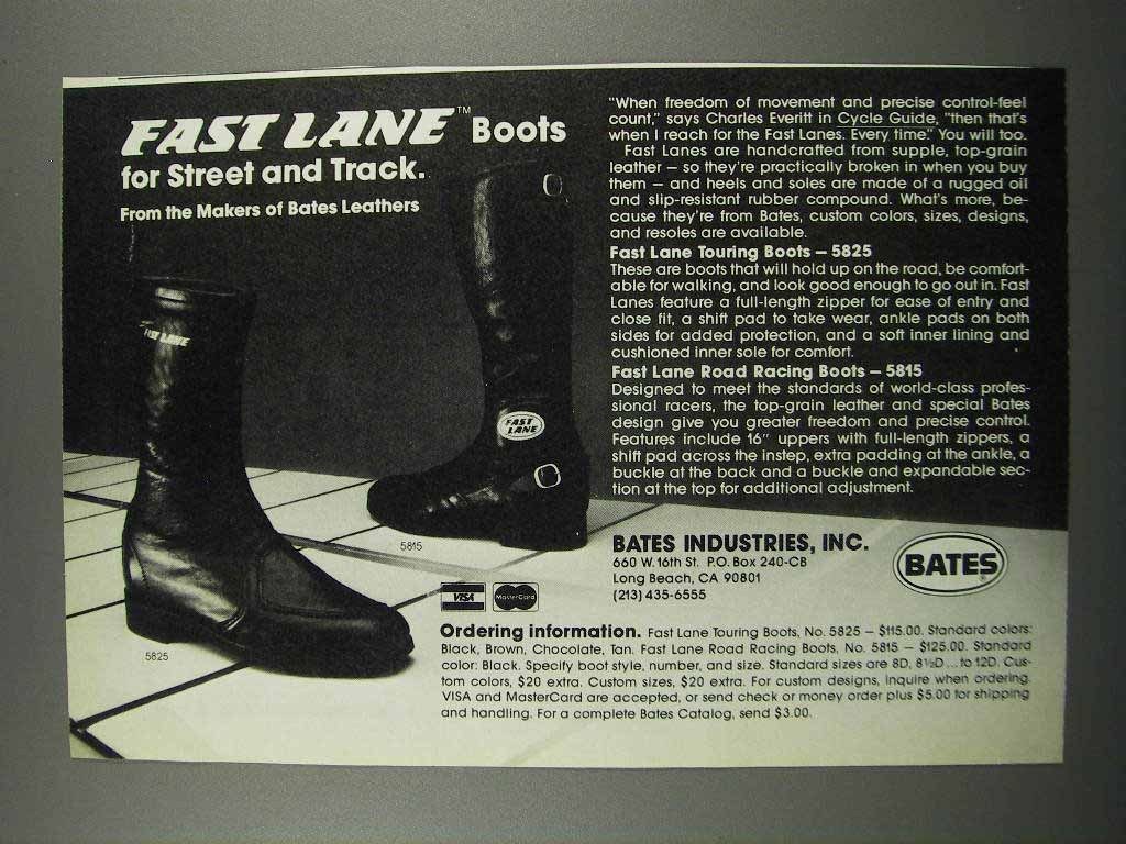 Primary image for 1983 Bates Fast Lane Touring Boots & Racing Boots Ad